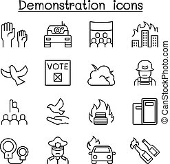 Protest, riot, election, remonstrance, demonstration icon set in thin line style