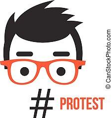 Protest, social network flashmob activity flat illustration...