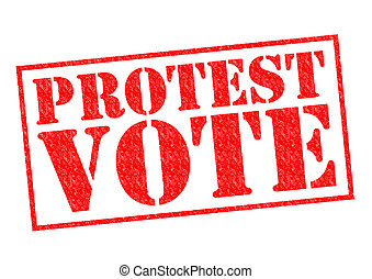 PROTEST VOTE red Rubber Stamp over a white background.