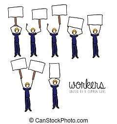 protest, werkmannen