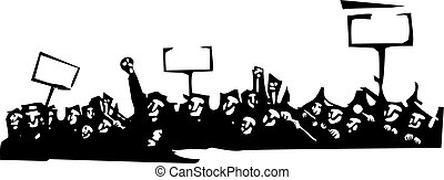 Protest - Woodcut style image of a riot or protest