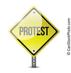protest yellow sign illustration design