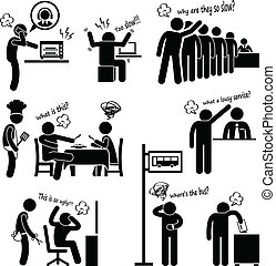 protesta, arrabbiato, clienti, infelice
