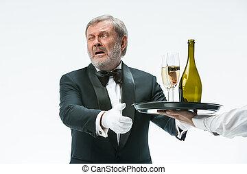 protesta, cattivo, bevanda, uomo