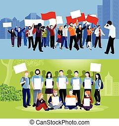 protesta, demostración, compositions, gente