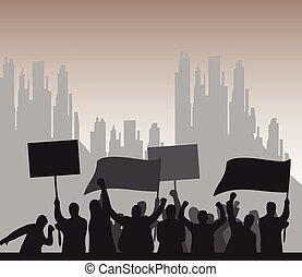 protesta, plano de fondo