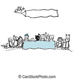 protesta, -, pubblico, illustrazione
