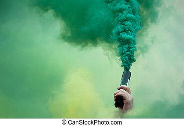 protestador, mano, en, el, coloreado, smokey