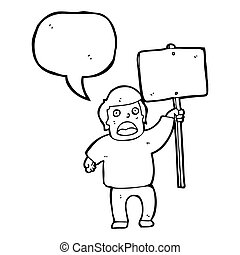 protestador, político, caricatura, señal