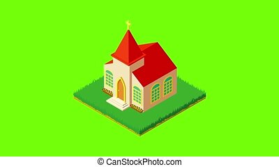 Protestant church icon animation cartoon best object on green screen background