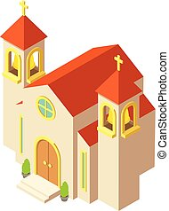 Protestant church icon, isometric style - Protestant church...
