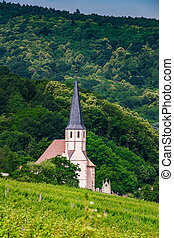 Protestant church in the Vosges mountains, Andlau