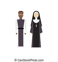 Protestantism religious men and women. Vector christian...