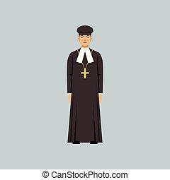 protestantizmus, katolikus, soutane, lelkész, beismerés, ábra, vektor, fekete, jellegzetes, vallásos