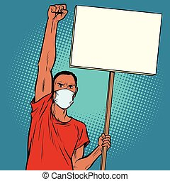 protestar, africano, hombre de la máscara