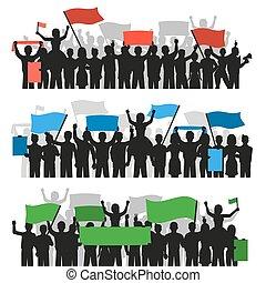 protestar, banderas, multitud, gente