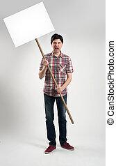 protestar, homem, com, painél publicitário