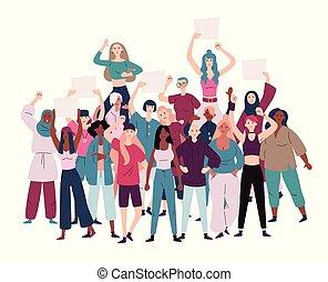 protestar, igualdad, demostradores, empowerment., hembra, mujeres, multitud