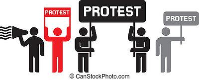 protestar, pessoas, ícones