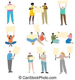 protestar, vector, gente, señales, algo, ilustración, agaist