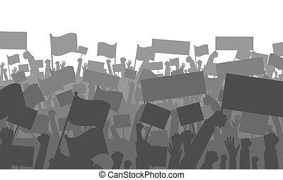 protestare, bandiere, o, folla, applauso