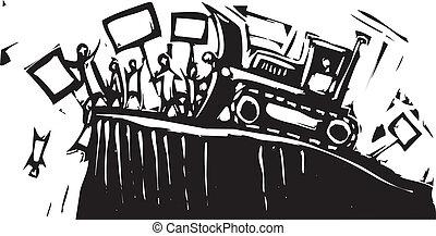 protestation, bulldozer