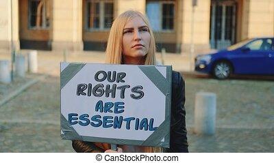 protestation, femme, exhorter, droits, protection, humain, ...