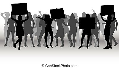 protestation, gens, foule, silhouette.