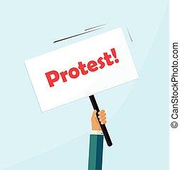 protesteerder, hand houdend, protestteken, plank, vrijstaand, politiek, plakkaat