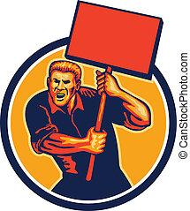 Protester Activist Union Worker Placard Sign Retro - ...