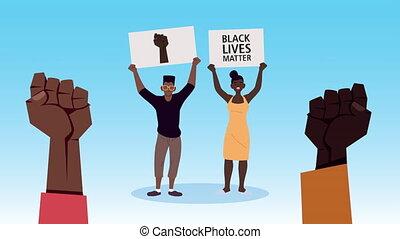 protester, afro, vies, bannières, mains, couple, lettrage, ...