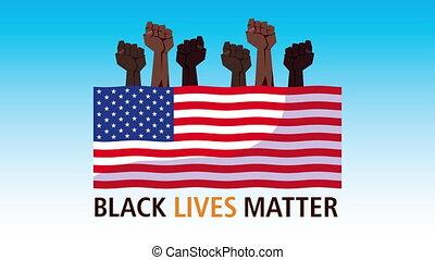 protester, afro, vies, usa, mains, drapeau, lettrage, noir, ...