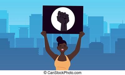 protester, animation, afro, femme, levage, vies, bannière, ...