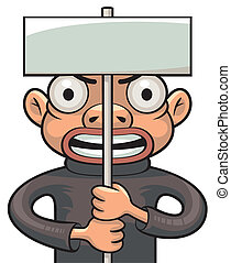 Protester - Illustration of a protester holding a board