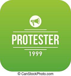Protester gramophone icon green vector