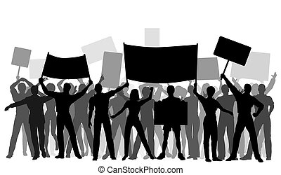 Protester group - Editable vector silhouettes of protesters...