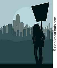 Protester landscape background vector for poster