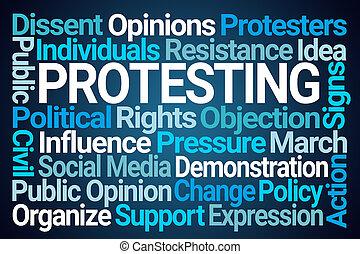 protester, mot, nuage