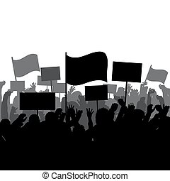 protester, silhouettes, gens