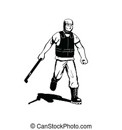protester - this is an illustration of street protester