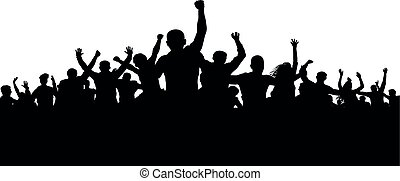 protesters, 激怒, 人群, ......的, 人們, 黑色半面畫像, 矢量, 憤怒, 暴民