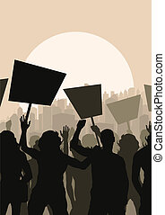 Protesters crowd landscape background vector