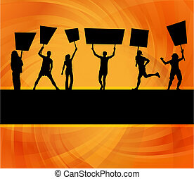 Protesters crowd vector background for poster - Protesters...