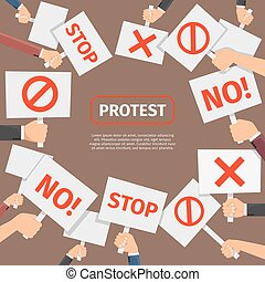 Protesters people concept. Protest signs frame with text