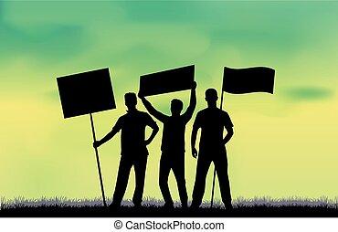 protesting., -, bekundung, personengruppe