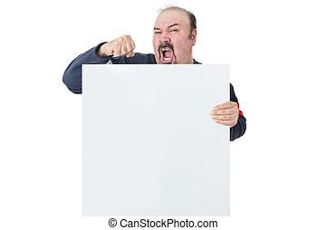 Protesting mature man holding a blank billboard - Mature man...