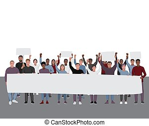 Protesting people with fists raised and banners. Public protest illustration