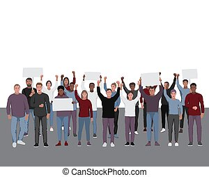 Protesting people with fists raised. Public protest illustration