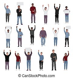 Protesting people with fists raised vector set