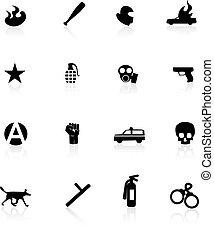 protesto, ícones, branca, isolado